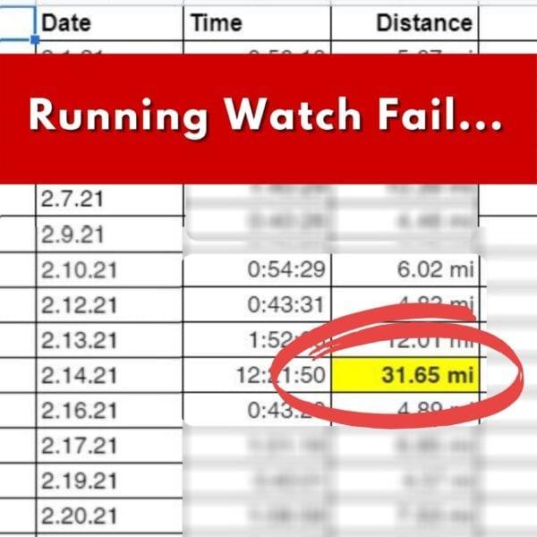 Resumen de fallos del reloj de Miles Running
