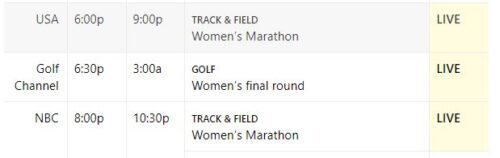 2020 Olympics Marathon schedule